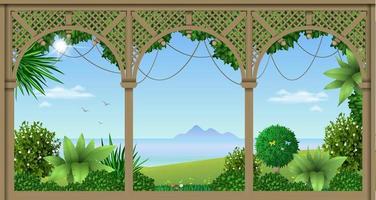 träveranda på ett tropiskt hotell eller hem