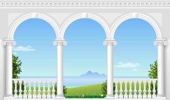 välvda balkong i ett fantastiskt palats