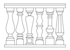 uppsättning olika klassiska baluster i dispositionsstil