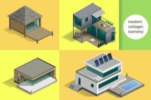 Reihe von modernen Hütten und Häusern