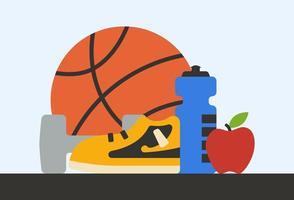 illustration av träning och hälsosam livsstilskoncept