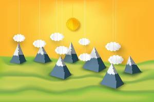 Papierkunst Berge und Sonnenschein