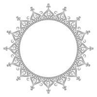 Schwarz-Weiß-Zier-Mandala-Rahmen vektor