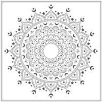 svartvit dekorativ mandala med månar