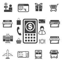 smarta pengar och mobil bank ikoner set