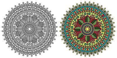 rundad dekorativ mandala målarbok vektor