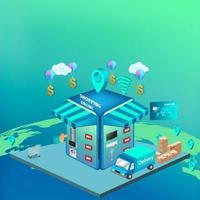 shoppa online på webbplats eller mobilapplikation vektor