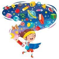 glad skolflicka med bok och fantasi moln