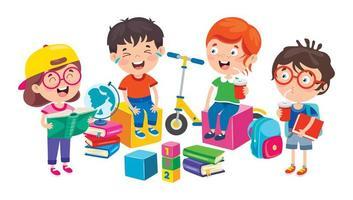 glada skolbarn som sitter och skrattar