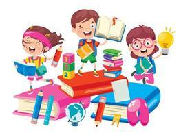 glückliche Schulkinder auf großen Büchern