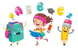 Mädchen mit fröhlicher Tasche und Bleistift mit anderen Schulsachen