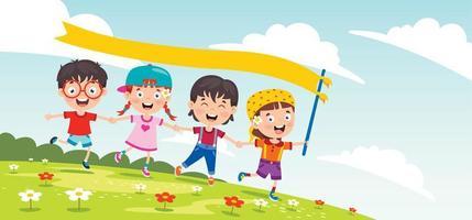 Kinder spielen draußen mit Bannerfahne