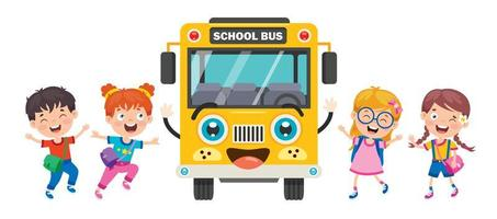 gul skolbussfront och glada barn