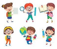 Satz glücklicher Schüler mit Schulmaterial