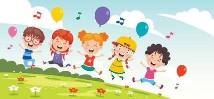 glada barn utanför att sjunga