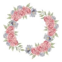 akvarell rosa ros blomma cirkel ram krans