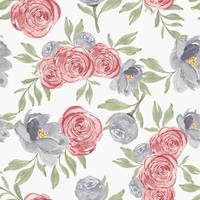 akvarell rosa pion blomma sömlösa mönster