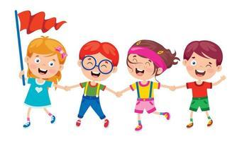 glückliche Kinder, die Hände halten, die Spaß haben