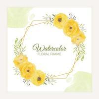 blommig rustik ram med akvarell gul rosbukett