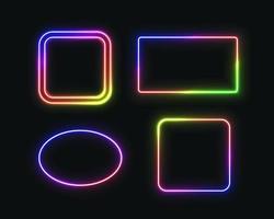 uppsättning av neonramar vektor