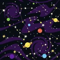 nahtloses Muster von Sternbildern und Planeten vektor