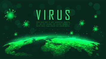 grön coronavirus global pandemiplakat vektor