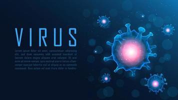 affisch av blå polygonviruscellstrukturer