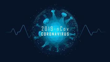 låg poly coronaviruscell med symbol för livstecken