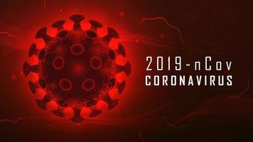 stor röd glödande coronaviruscell