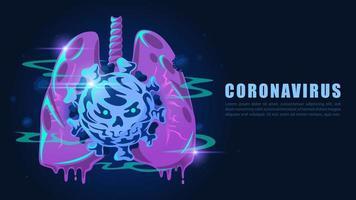 Mit Coronavirus infizierte Lungen im Cartoon-Stil