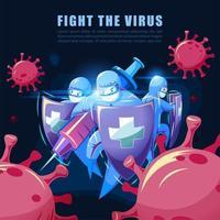 medizinisches Team im Kampf gegen das Virus vektor