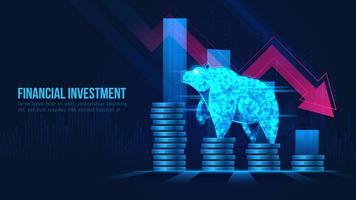 futuristiskt begrepp av baisseartad aktiemarknad