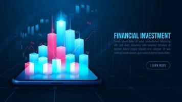 Aktien- oder Devisenhandelsdiagramm auf dem Smartphone