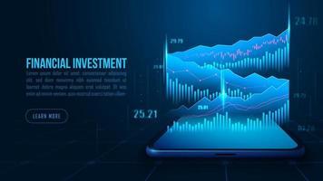 isometrische Aktien- oder Forex-Handelstabelle auf dem Smartphone