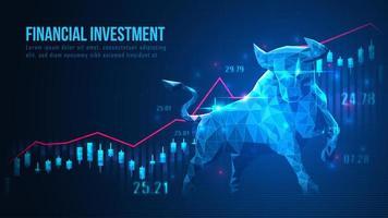 låg poly tjur och investeringsdesign vektor