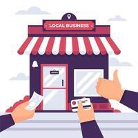 stödja lokal affärsdesign med händer som ger pengar