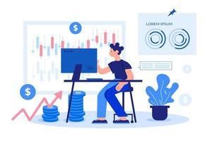 platt design av arbetande handlare