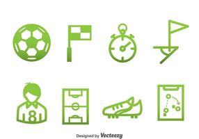 Fotboll Element Gröna Ikoner vektor