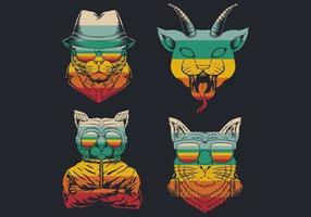 Katze Retro Hipster Logo Sammlung vektor