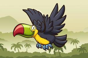 Cartoon-Tukan fliegt über nebligen Dschungel