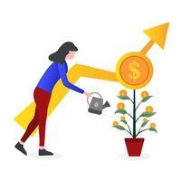 Frau, die Pflanze mit Münzen auf Blättern wässert