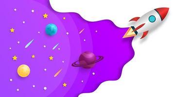 Rakete startet aus dem Weltraum vektor