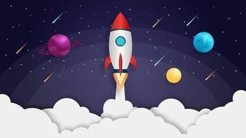 Rakete startet in den Weltraum vektor