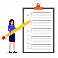 kvinna granskar en lista vektor