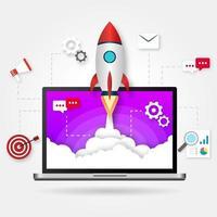 raketflyg webbstartdesign vektor