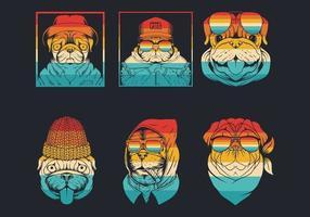 Mops Hund Retro Hipster Logo Sammlung vektor