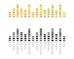 gelbe, schwarze Schallwellenlogos vektor