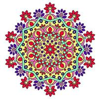 färgglad blommig mandala design vektor