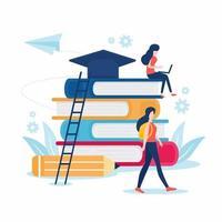 Back to School Design mit Schülern und Büchern vektor