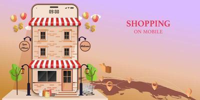 shopping på mobil designkoncept vektor